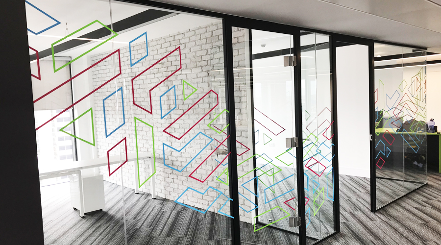 Colourful Office Partition Glass Manifestation