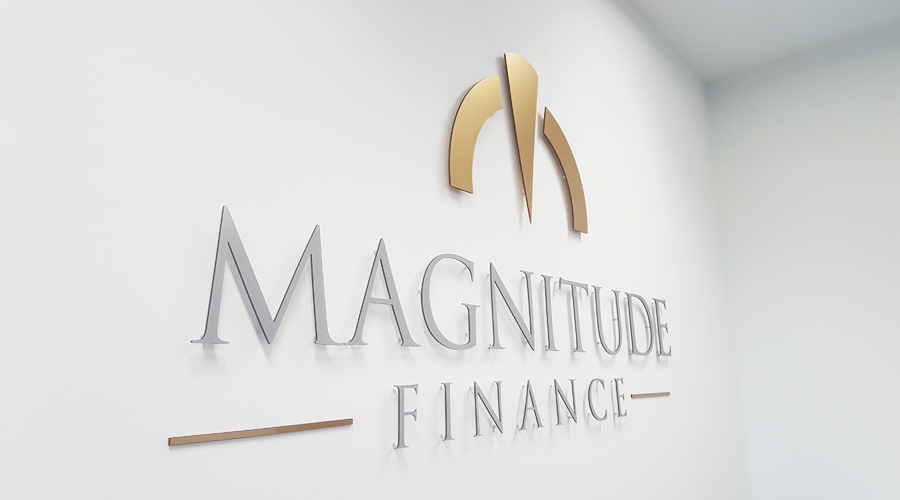 Magnitude Finance 3D Acrylic Logo on Wall