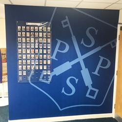 School Reception Wall Mural with School Logo