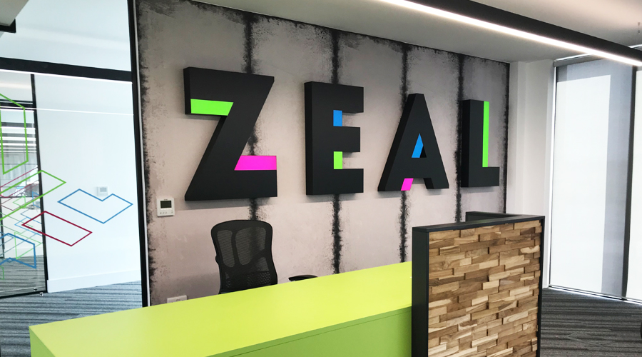 Zeal Wall Mural with letters