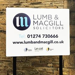 Lumb and Macgill Post Sign