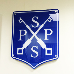 Crest shaped logo wall plaque