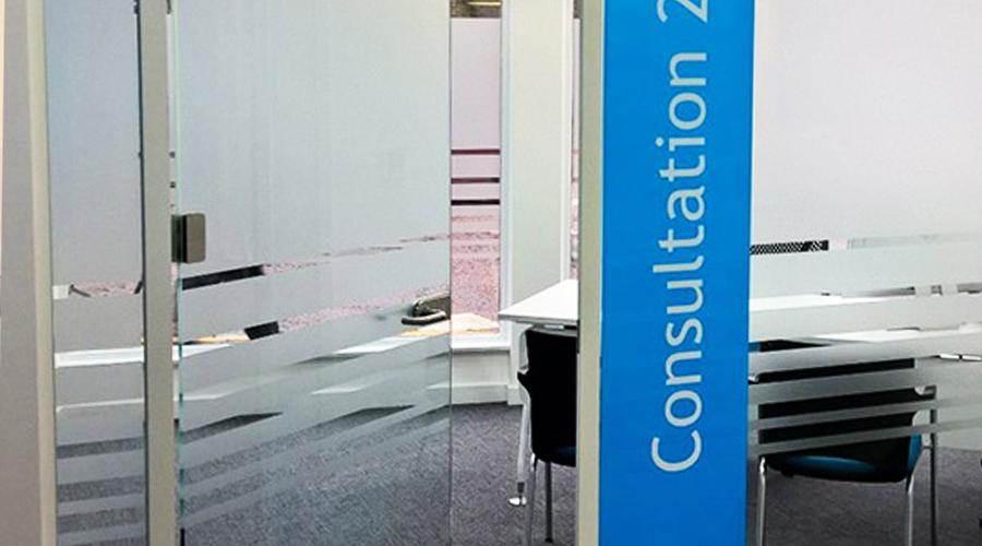Plain striped Glass Manifestation & GLASS MANIFESTATION u2013 Space3 u2013 Signage Graphics Display Yorkshire