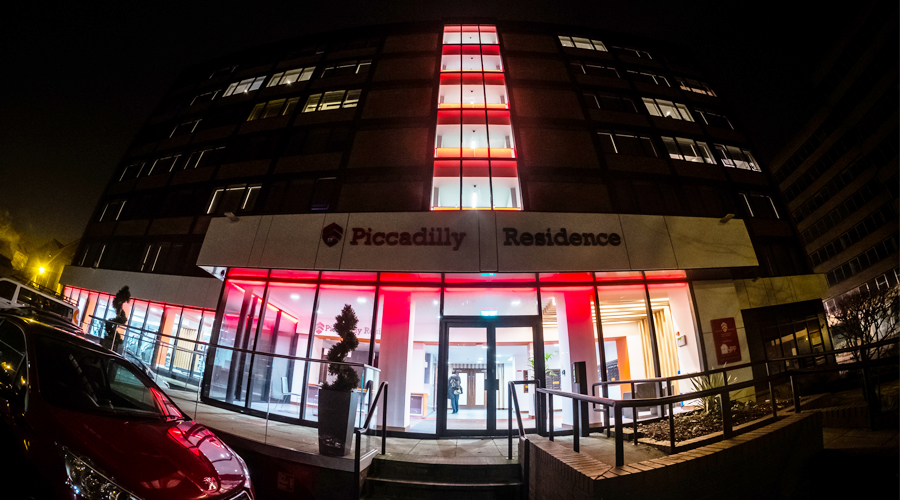 Piccadily House York LED lighting - red